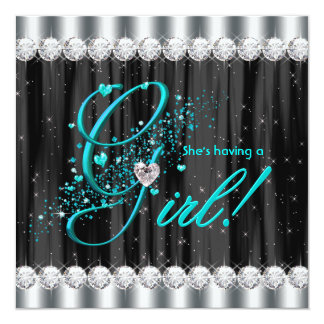 Girly Glam Teal Blue Baby Shower Invitations