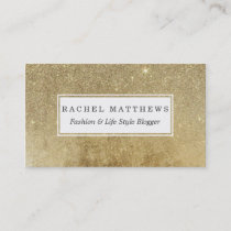 Girly Glamorous Gold Foil and Glitter Mesh Business Card