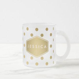 Girly Glitter Gold Polka Dots Pattern Monogram Frosted Glass Coffee Mug