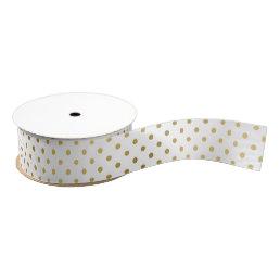 Girly Glitter Gold Polka Dots Pattern Monogram Grosgrain Ribbon
