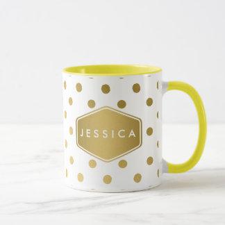 Girly Glitter Gold Polka Dots Pattern Monogram Mug