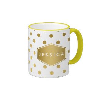 Girly Glitter Gold Polka Dots Pattern Monogram Ringer Coffee Mug