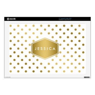 Girly Glitter Gold Polka Dots Pattern Monogram Skins For Laptops