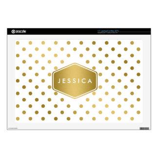 Girly Glitter Gold Polka Dots Pattern Monogram Skins For Laptops