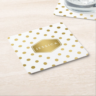 Girly Glitter Gold Polka Dots Pattern Monogram Square Paper Coaster