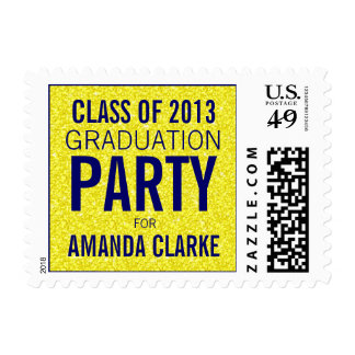 Girly Glitter Graduation Party | Navy Blue Yellow Postage