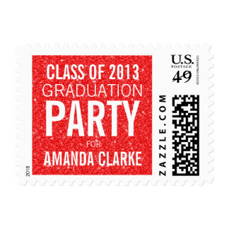Girly Glitter Graduation Party | Orange White Stamps