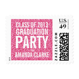 Girly Glitter Graduation Party | Pink White Postage