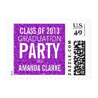 Girly Glitter Graduation Party | Purple White Postage Stamps