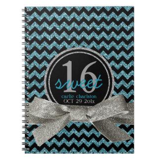 Girly Glitter Look Aqua Chevron Sweet 16 Note Book