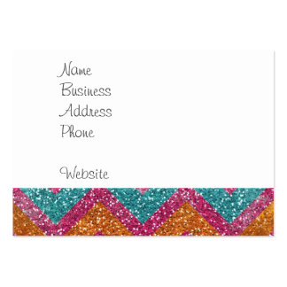 Girly Glitter Print Chevron Stripes Teal Pink Large Business Card