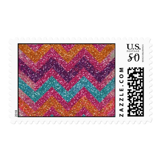 Girly Glitter Print Chevron Stripes Teal Pink Postage