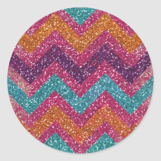 Girly Glitter Print Chevron Stripes Teal Pink Round Sticker
