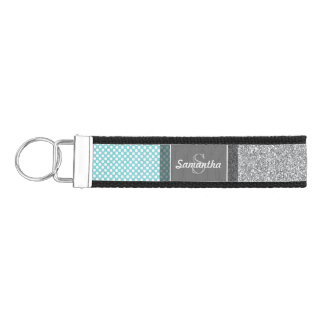 Girly Glitter Print Pattern with Custom Monograms Wrist Keychain