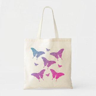 Girly Glitter Purple/Pink Butterflies Tote Bag