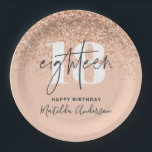 """Girly glitter sparkle modern 18th birthday party paper plate<br><div class=""""desc"""">Girly glitter sparkle modern 18th birthday party decor paper plates. Part of a collection.</div>"""