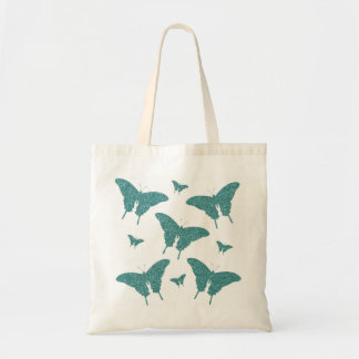 Girly Glitter Teal/Green  Butterflies Tote Bag