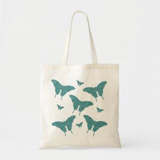 Girly Glitter Teal/Green  Butterflies Tote Bag