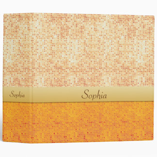 Girly Glittery Orange Polka Dot Avery Binder 2""