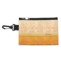 Girly Glittery Orange Polka Dot Clip On Accessory Accessory Bag  at Zazzle