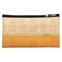 Girly Glittery Orange Polka Dot Cosmetic Bag (Med) at Zazzle