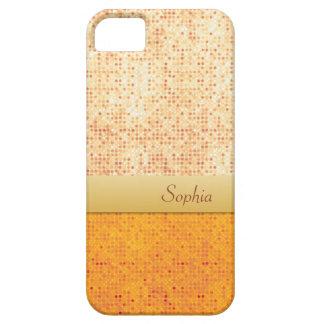 Girly Glittery Orange Polka Dot iPhone 5 Case