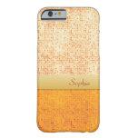 Girly Glittery Orange Polka Dot iPhone 6 case at Zazzle
