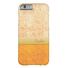 Girly Glittery Orange Polka Dot Iphone 6 Case at Zazzle