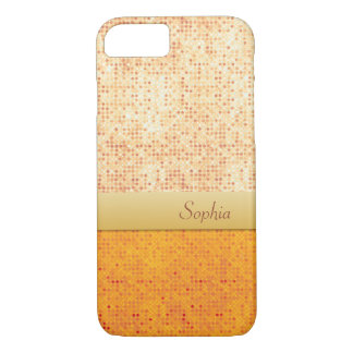 Girly Glittery Orange Polka Dot iPhone 7 Case