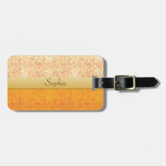 Girly Glittery Orange Polka Dot Luggage Tag at Zazzle