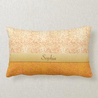 Girly Glittery Orange Polka Dot Lumbar Pillow