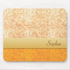 Girly Glittery Orange Polka Dot Mouse Mat at Zazzle
