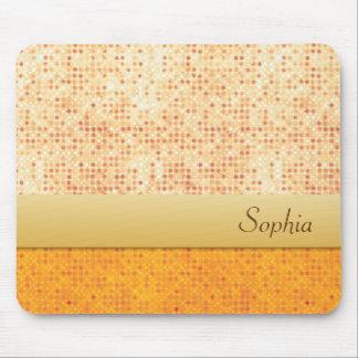 Girly Glittery Orange Polka Dot Mouse Mat Mouse Pad