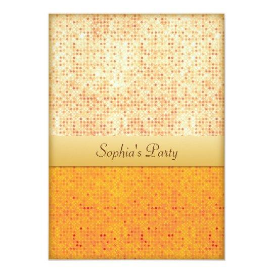Girly Glittery Orange Polka Dot Party Invitations