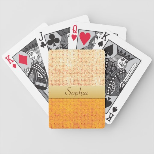 Girly Glittery Orange Polka Dot Playing Cards Bicycle Playing Cards
