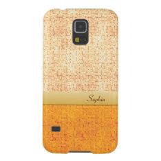 Girly Glittery Orange Polka Dot Samsung Galaxy Galaxy S5 Cover at Zazzle