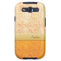 Girly Glittery Orange Polka Dot Samsung Galaxy S3 Galaxy SIII  Cases at Zazzle