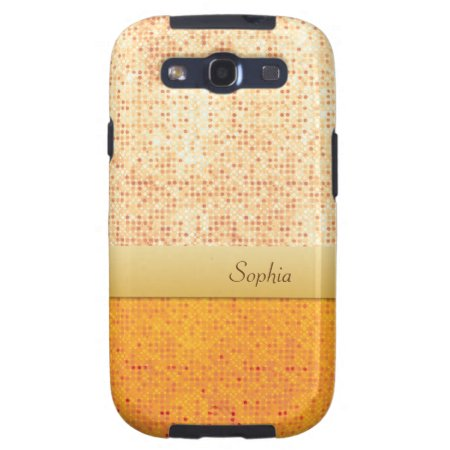 Girly Glittery Orange Polka Dot Samsung Galaxy S3 Galaxy Siii Case