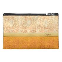 Girly Glittery Orange Polka Dot Travel Accessory Travel Accessory  Bags at Zazzle