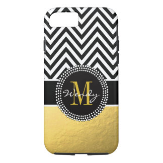 Girly Gold and Black Chevron Monogrammed iPhone 7 Case