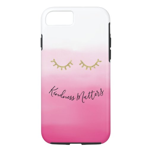 Girly Gold Eyelashes pink ombre iPhone 8/7 Case