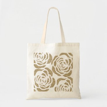 Girl_o_licious Girly Gold Faux Glitter Roses Floral Tote Bag