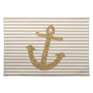 Girly Gold Glitter Anchor Cloth Placemat