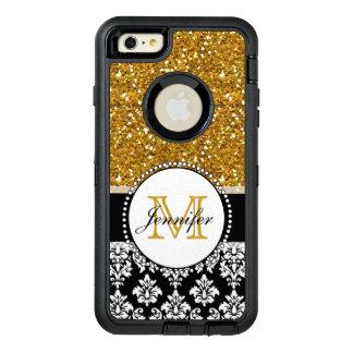 Girly Gold Glitter Black Damask Personalized