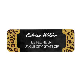 Girly Gold Glitter | Cheetah Wild Animal Print Label