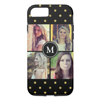 Girly Gold Glitter Dots Photo Collage Monogram iPhone 7 Case