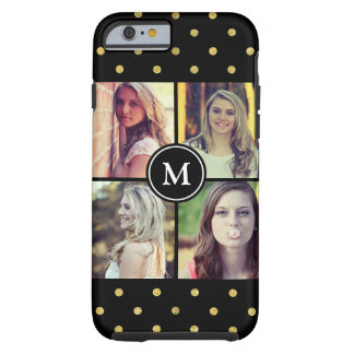 Girly Gold Glitter Dots Photo Collage Monogram Tough iPhone 6 Case
