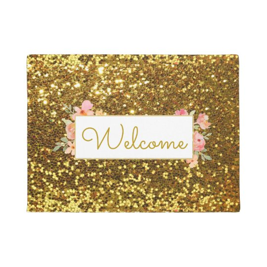 Girly Gold Glitter Effect Welcome Doormat Zazzle