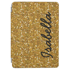 Girly Gold Glitter Printed Personalized Ipad Air Cover at Zazzle