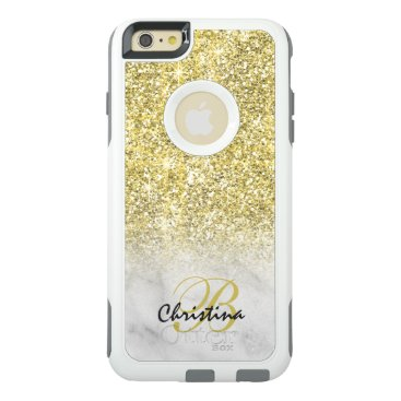 Girly Gold Glitter White Marble Ombre Monogram OtterBox iPhone 6/6s Plus Case